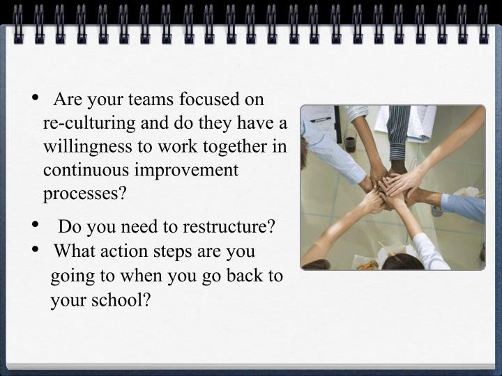 Are your teams focused on      re-culturing and do they have a  willingness to work together in continuous improvement processes?