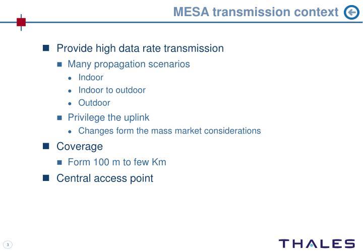 MESA transmission context