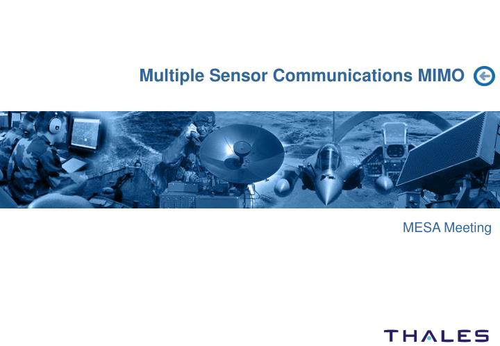 Multiple sensor communications mimo