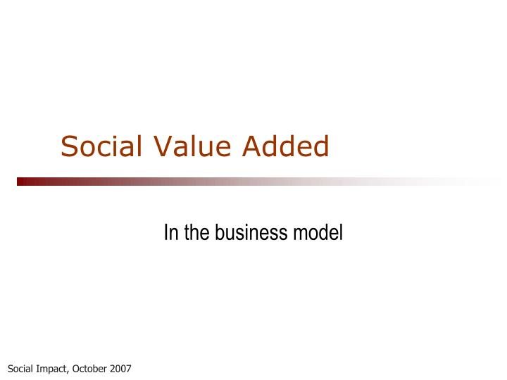 Social Value Added