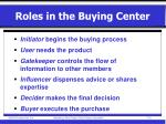 roles in the buying center