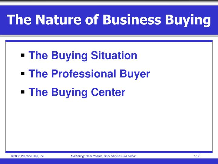 The Nature of Business Buying
