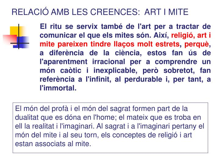 RELACIÓ AMB LES CREENCES:  ART I MITE