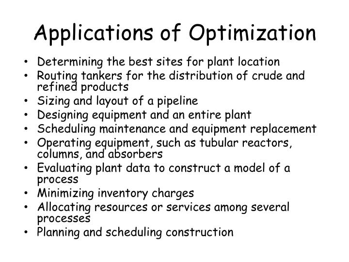 Applications of Optimization