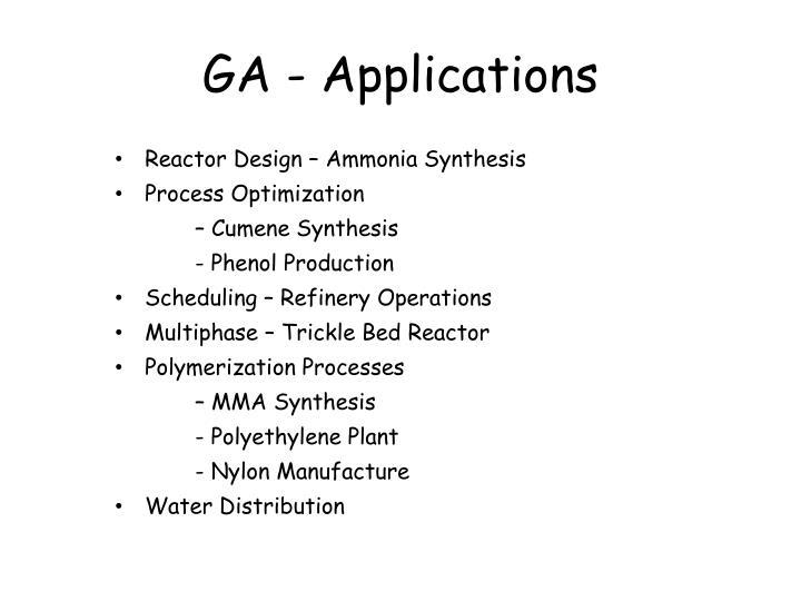 GA - Applications