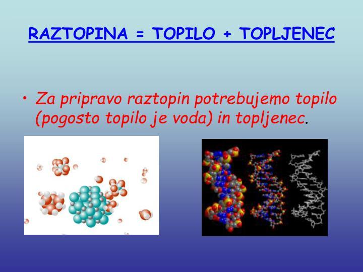 RAZTOPINA = TOPILO + TOPLJENEC