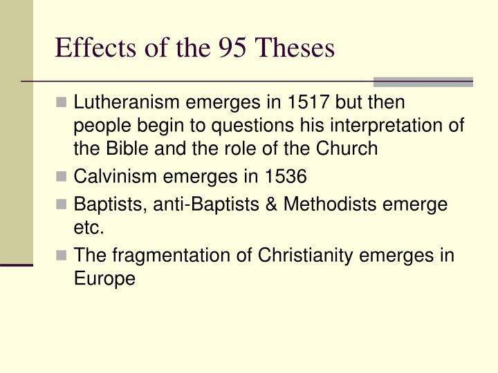 Effects of the 95 Theses