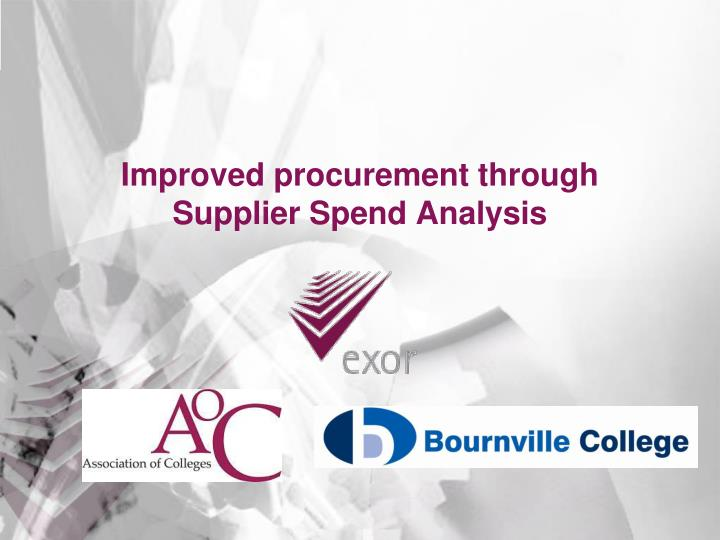 Improved procurement through supplier spend analysis