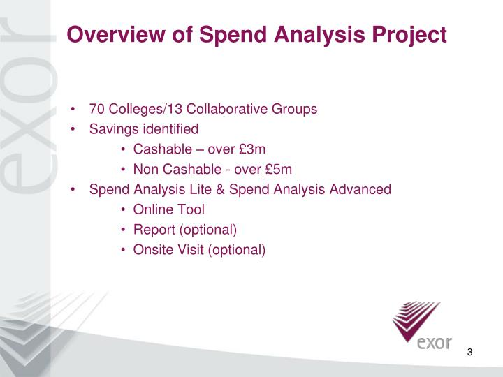 Overview of spend analysis project