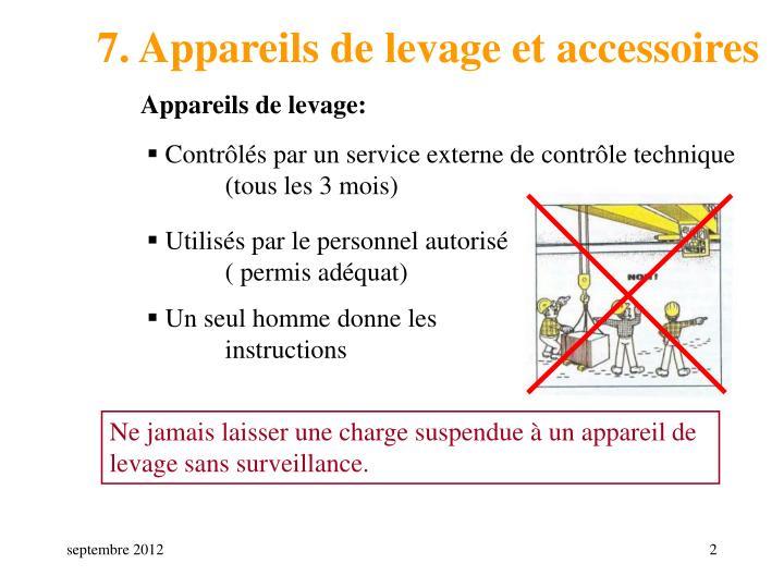 7. Appareils de levage et accessoires