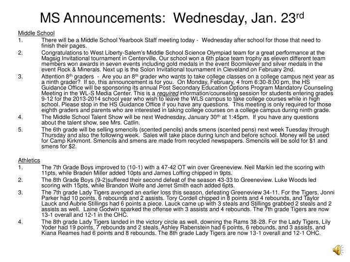 Ms announcements wednesday jan 23 rd