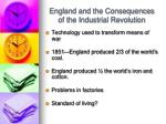 england and the consequences of the industrial revolution