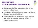milestones stages of implementation
