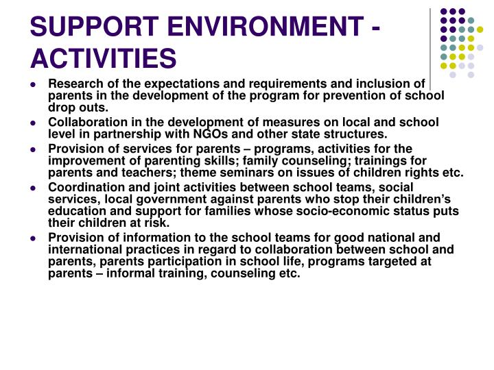 SUPPORT ENVIRONMENT - ACTIVITIES