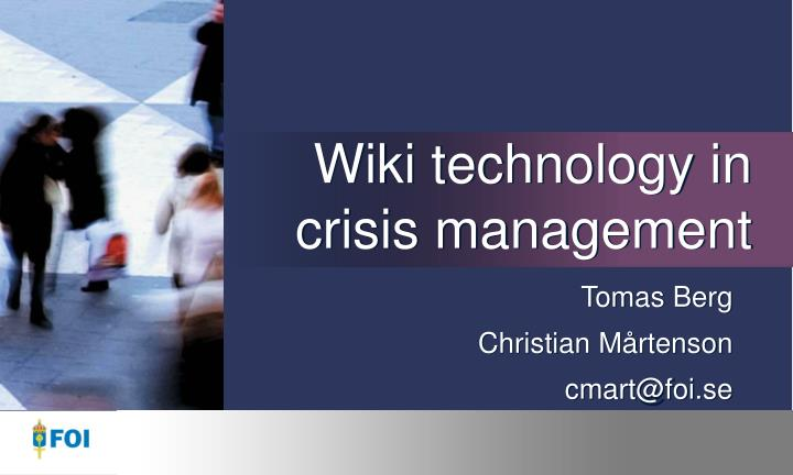 Wiki technology in crisis management