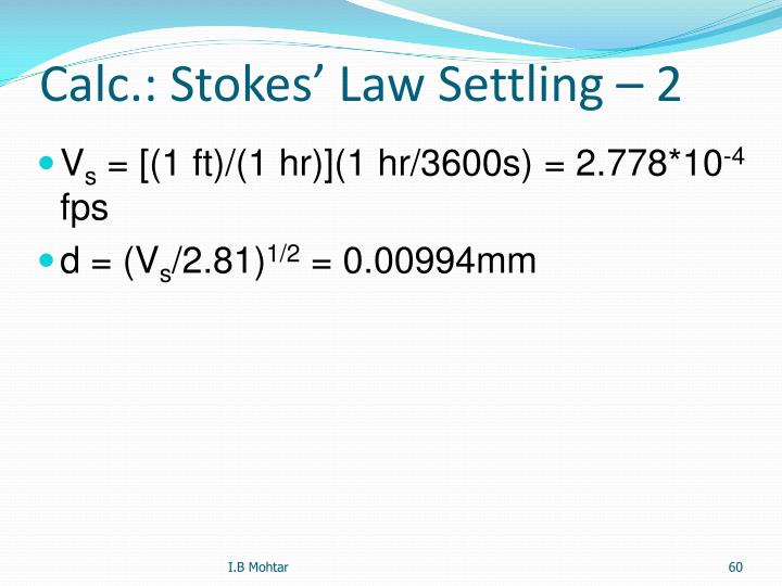 Calc.: Stokes' Law Settling – 2