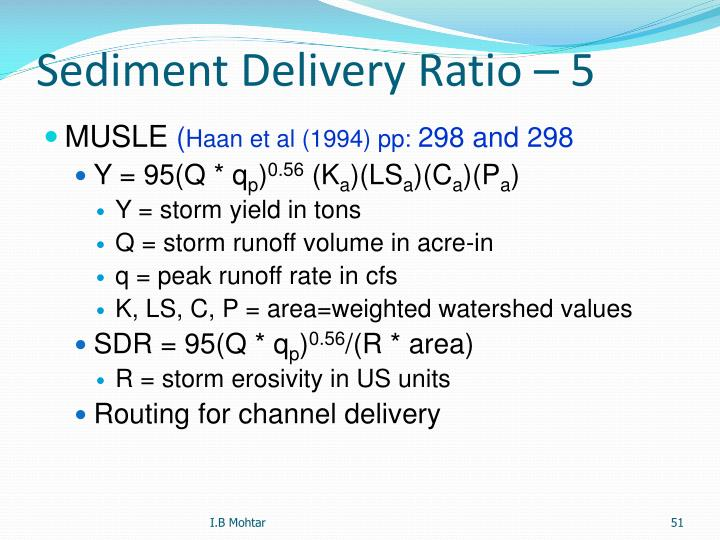 Sediment Delivery Ratio – 5