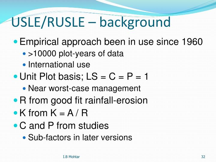 USLE/RUSLE – background
