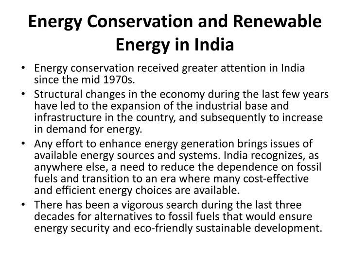 Energy Conservation and Renewable Energy in India