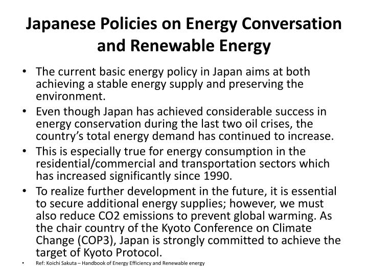 Japanese Policies on Energy Conversation