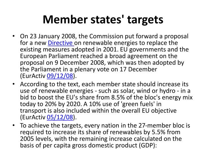 Member states' targets