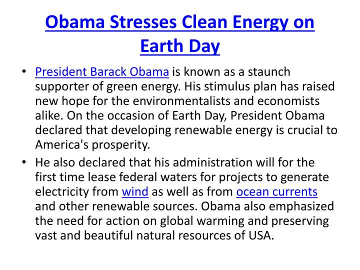 Obama Stresses Clean Energy on Earth Day