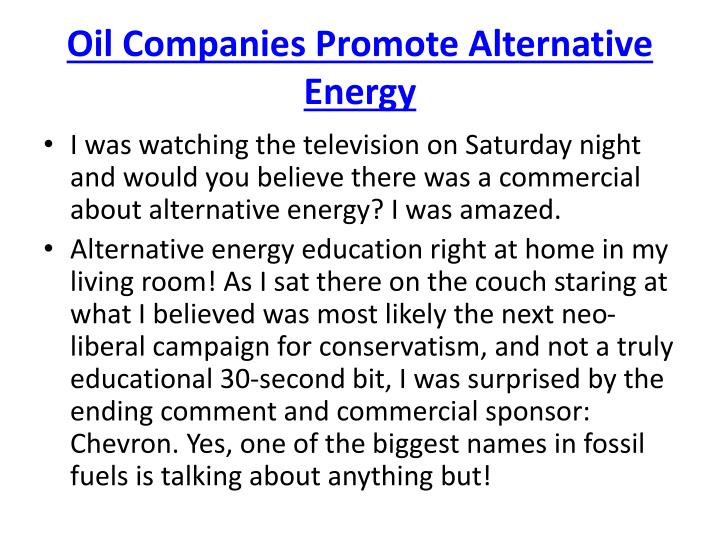 Oil Companies Promote Alternative Energy
