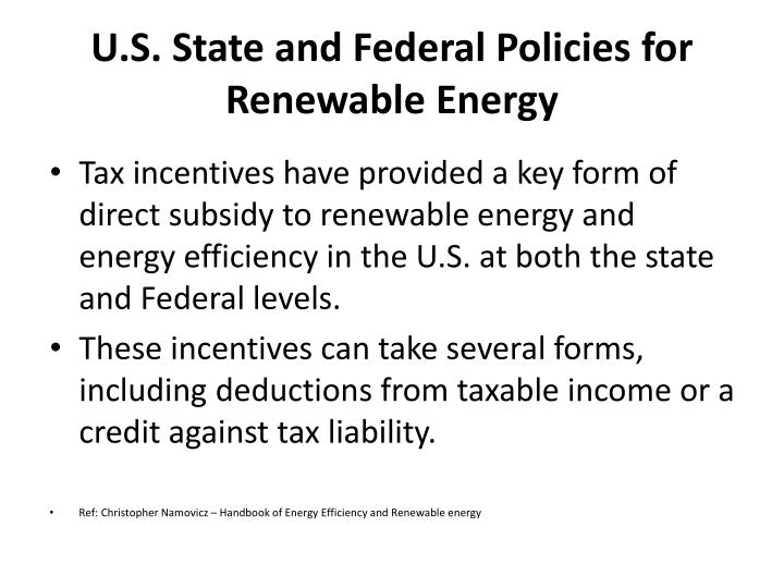 U.S. State and Federal Policies for Renewable Energy