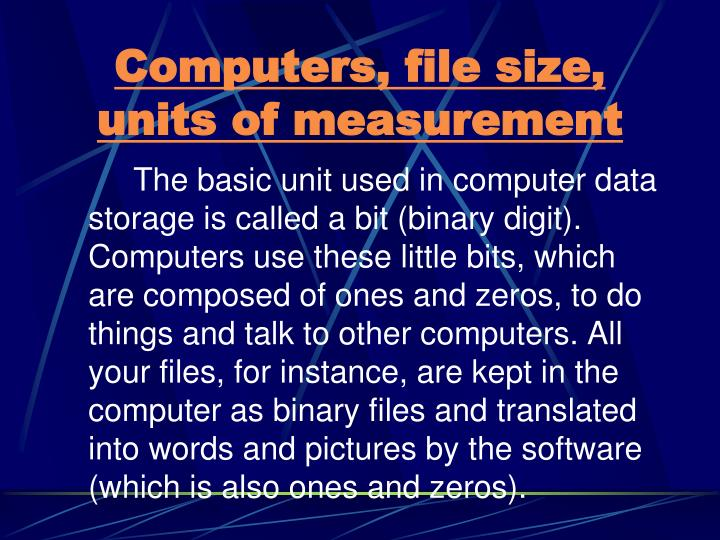 Computers, file size, units of measurement