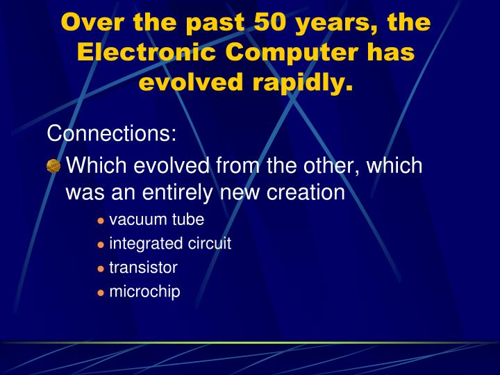 Over the past 50 years, the Electronic Computer has evolved rapidly.