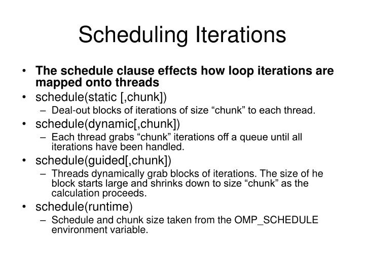 Scheduling Iterations
