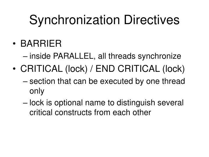Synchronization Directives