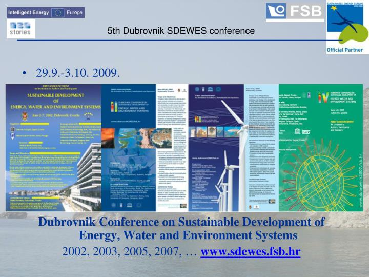 5th Dubrovnik SDEWES conference