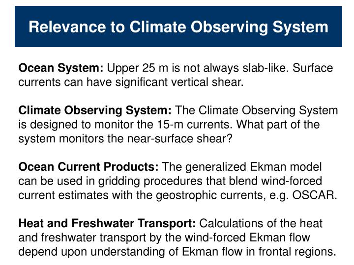 Relevance to Climate Observing System