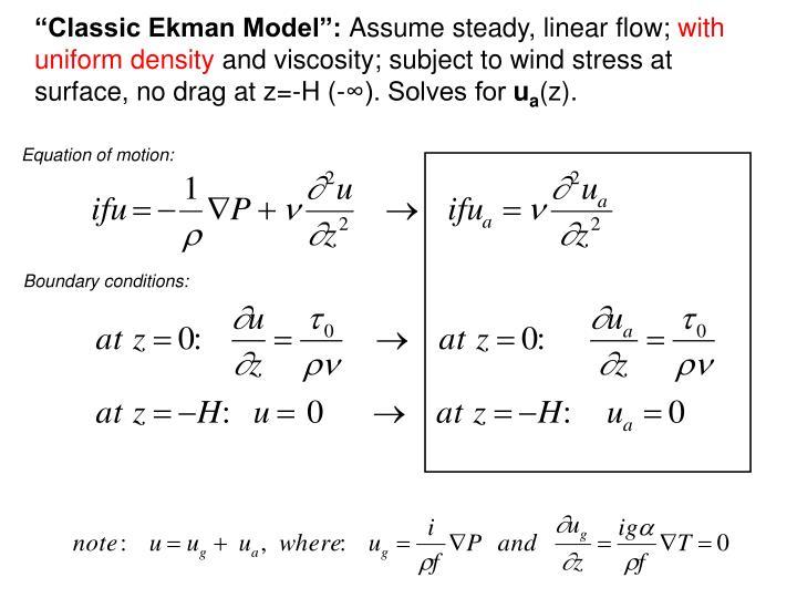 """Classic Ekman Model"":"