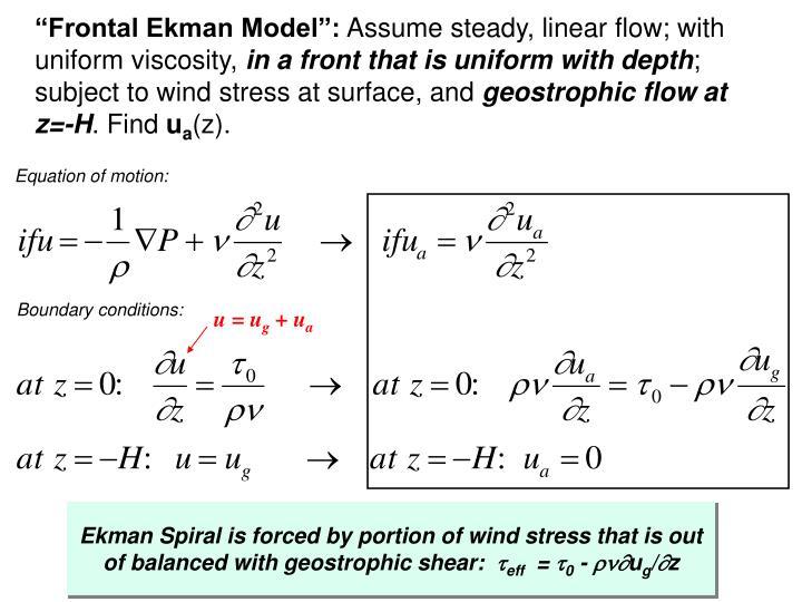 """""""Frontal Ekman Model"""":"""