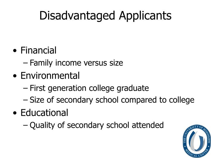 Disadvantaged applicants