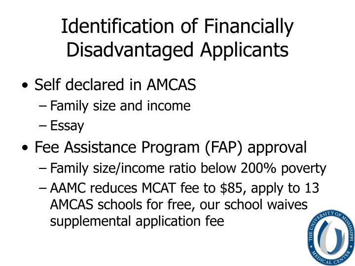 Identification of financially disadvantaged applicants