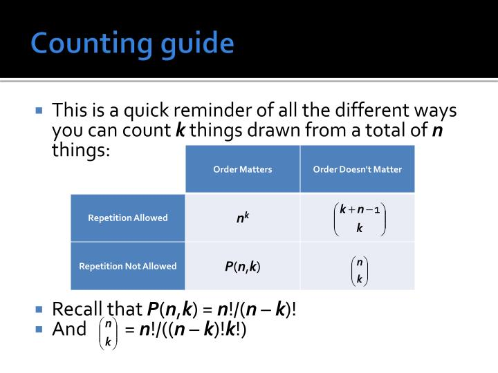 Counting guide
