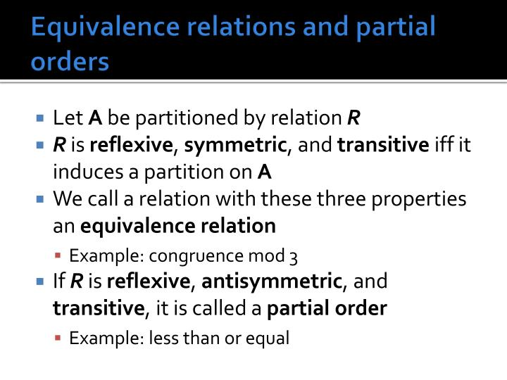 Equivalence relations and partial orders