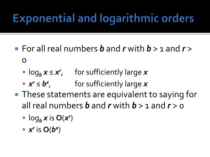 Exponential and logarithmic orders