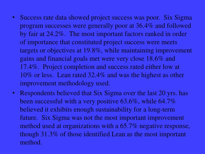Success rate data showed project success was poor.  Six Sigma program successes were generally poor at 36.4% and followed by fair at 24.2%.  The most important factors ranked in order of importance that constituted project success were meets targets or objectives at 19.8%, while maintaining improvement gains and financial goals met were very close 18.6% and 17.4%.  Project completion and success rated either low at 10% or less.  Lean rated 32.4% and was the highest as other improvement methodology used.