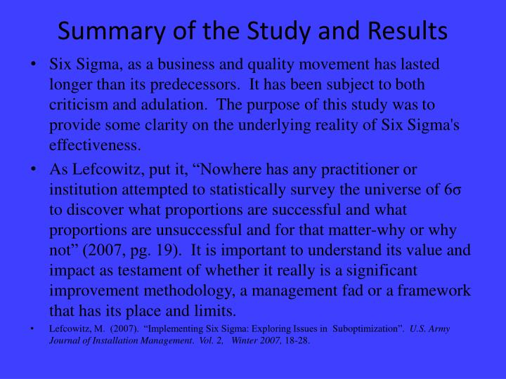 Summary of the Study and Results