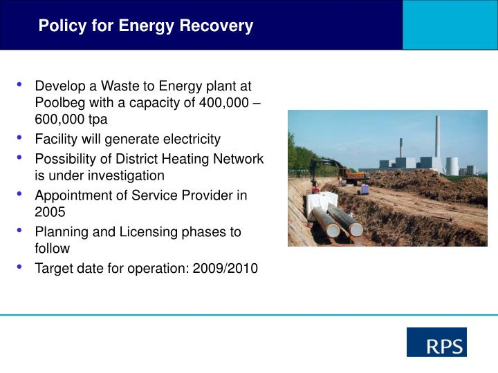 Policy for Energy Recovery