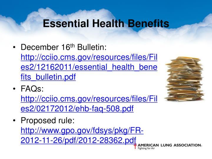 Essential Health Benefits