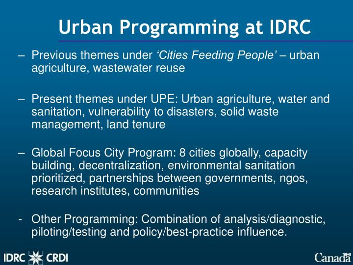 Urban Programming at IDRC