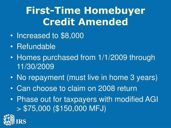 First-Time Homebuyer Credit Amended