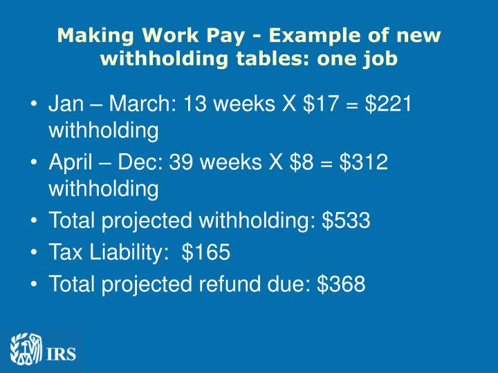 Making Work Pay - Example of new withholding tables: one job