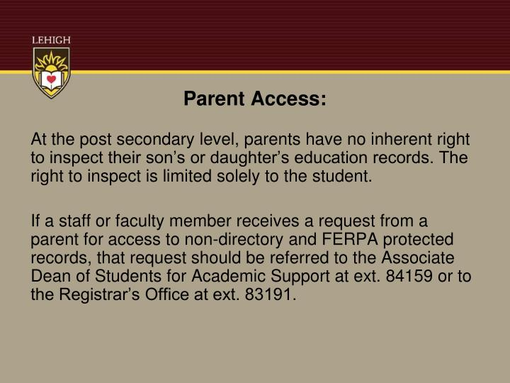 Parent Access: