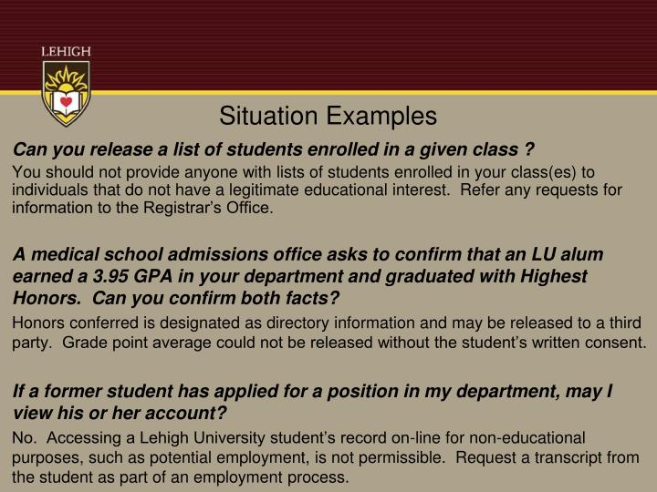 Situation Examples